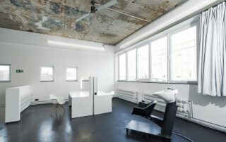 raw studios. hair makeup tables and hair washing station