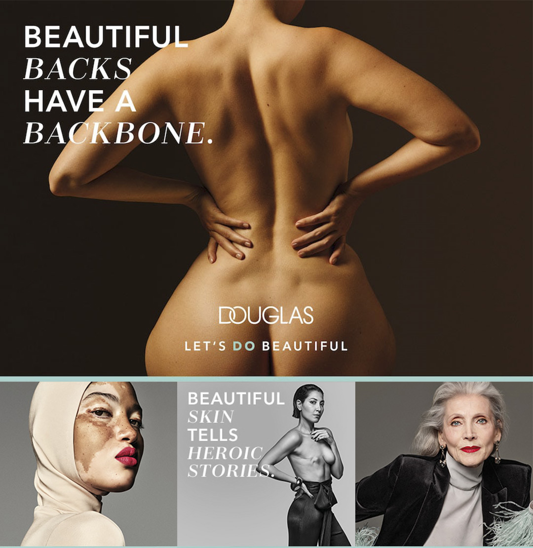 Douglas, a German cosmetic retailer produced a campaign featuring multifaceted faces of women